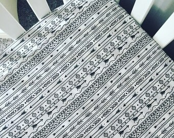 Black and white crib sheet | Arrows and aztec nursery | arrows crib bedding | Arrows crib sheet | Aztec print bedding | arrow changing pad