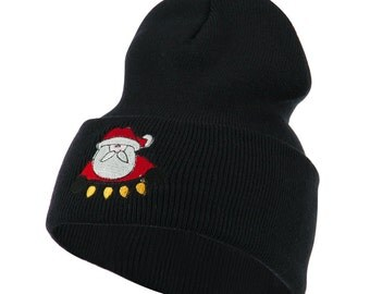 Santa with Christmas Lights Embroidered Beanie