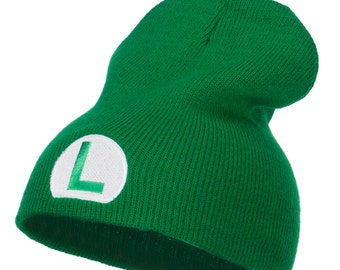 Circle Luigi Embroidered Short Beanie