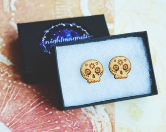 Wooden Calavera Sterling Silver Studs Earrings