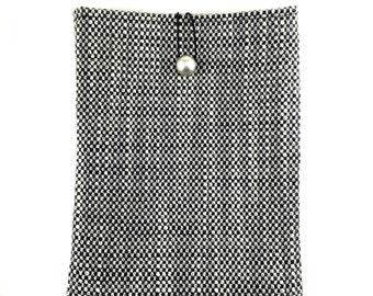Fabric Ipad Air Case,Black and White Ipad Sleeve,Black Ipad Cover,Woven Fabric Ipad Case,White ipad case,Ipad Air Case,Black Book Case