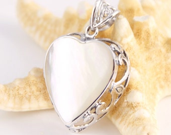 Heart M- Sterling Silver, Natural Mother of Pearl Pendant, Bohemian Style