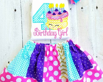 Inspired by Shopkins birthday shirt inspired Cake Birthday Outfit purple/gold-Personalized
