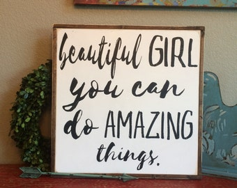 Girls nursery, girls rooms, Beautiful girl you can do amazing things, Girls room Decor, Girls Room Signs, Girls nursery Decor,