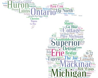 State of Michigan- Pure Michigan Word Art: DIGITAL JPG FILE