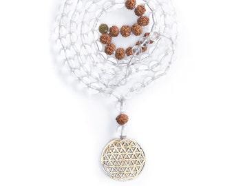 FLOWER OF LIFE/Mala Beads/Clear Crystal Beads/Yoga Jewelry/Prayer Beads/Rudraksha/Meditation Necklace/Mala 108 Beads/White Mala
