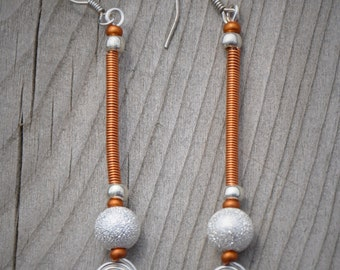 Copper coil silver spiral earrings