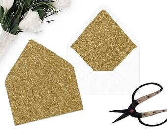 Gold Glitter Envelope Liner - Printable Wedding template - Instant download  - Gold Glitter - A7