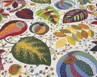 Tablecloth green  blue red yellow white gray olive  leaves, Scandinavian design