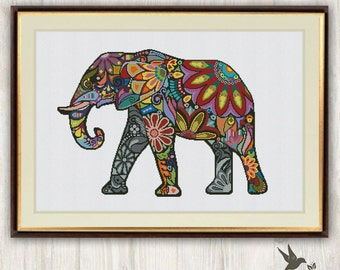Elephant Cross Stitch Pattern, abstract animal cross stitch pattern, modern cross stitch pattern, mosaic cross stitch pattern, needlecraft