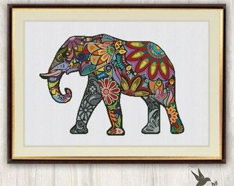 Elephant Cross Stitch Pattern, abstract animal cross stitch pattern, modern cross stitch pattern, mosaic cross stitch pattern, needlecraft