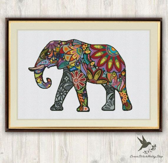 Elephant Cross Stitch Pattern Abstract Animal Cross Stitch