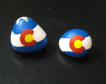 Colorado Flag on Colorado river rock