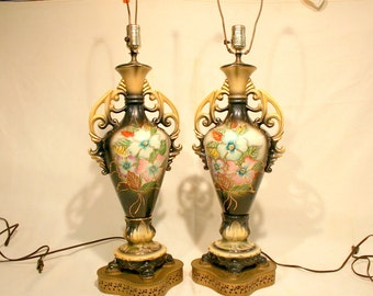 Antique Mid-Century Hand Painted Table Lamps on a black background