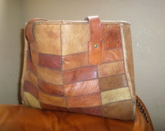 Patchwork Leather tote/boho