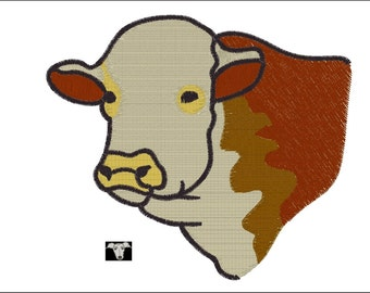 Hereford Cow Embroidery Designs in 4 sizes