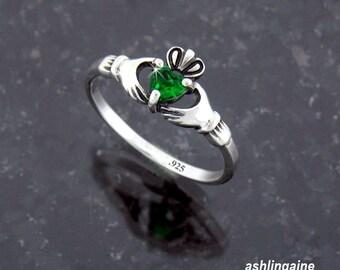 Dainty Sterling Silver Claddagh Ring Heart CZ (#Q3043)