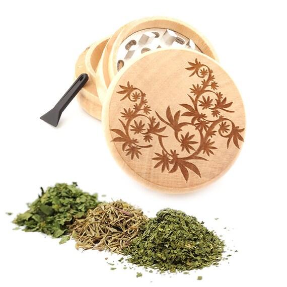 Leaf Design Engraved Premium Natural Wooden Grinder Item # PW050916-128