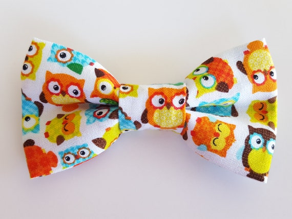 Owl Bow For Cat or Small Dog Collars, Matching Velcro Collar, 100% Sales Goes to Feeding Feral Cats