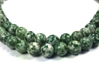 Green Spot Stone 8mm round (natural) 15.5-inch strand