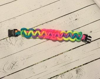 Rainbow Paracord bracelet with buckle