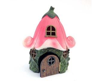 Fairy house, fairy garden, pink petunia cottage, pink fairy houses, fairy garden house, fairy garden accessory, fairies, miniature garden