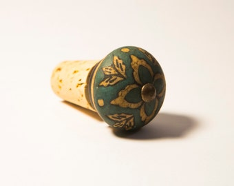 Wine Bottle Stopper - Painted Porcelain
