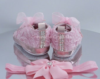 Baby Custom Crystal *Bling*  Booties & Headband Set  3-6M / 6-9M
