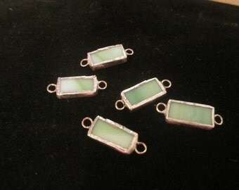 Light Green Rectangle Stained Glass Beads