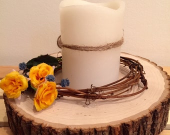 Yellow candle wreath, rose candle ring, yellow candle ring, yellow rose candle, candle decoration