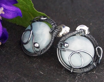 Sterling Silver stud earrings with Aquamarine / wire wrapped / studs / oxidized silver / jewellery for women