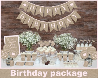 Rustic Birthday decorations printable, First birthday party decors, girl birthday party decorations, burlap birthday decorations