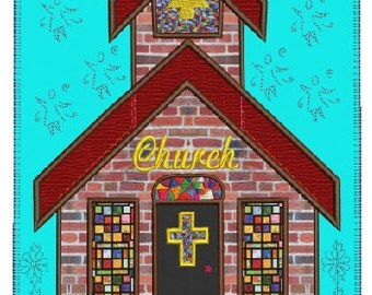"Church block 5 in ""My town"" series applique embroidery,4 sizes, 8 formats(dst,exp,hus,jef,pes,vip,sew,xxx), instant download, 1 zip file"