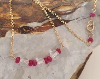 Quartz Minimalist Necklace, Red Jade, 14k Gold Filled Chain