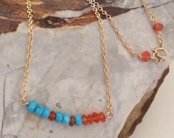 Minimalist 14k Gold Filled Necklace, Howlite, Orange Jade