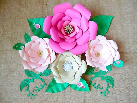 Paper flower templates diy giant paper flowers diy flower il570xn mightylinksfo