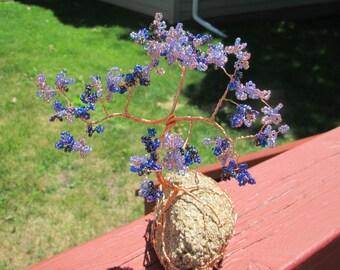 Beaded Wire Bonsai: Purple Orchid