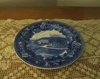 "Blue White Wedgwood Washington's Headquarters Newburgh N. Y. Commemorative Plate 9.00""! #BV"