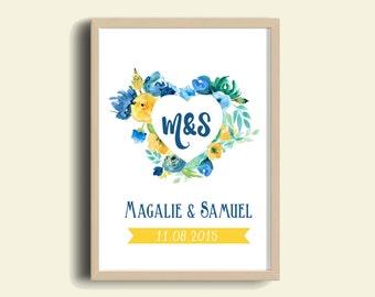 Affiche A3/A4 Cadeau Personnalisé avec les Initiales Couple et la Date de Mariage/Fiançailles/Rencontre