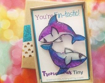 Shark Friendship Pin Set - You're Fin-tastic | Lapel Pin, Tie Tack, Backpack Pin, Pin Game, Ocean Pin