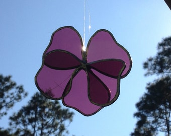 Maroon Stained Glass Flower, 3D stained Glass Suncatcher, Stained Glass Pansy Suncatcher