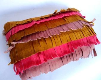 Colorful leather fringe clutch, summer clutch, suede fringe clutch, small leather clutch, summer clutch, fringe purse, chain clutch,