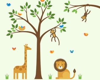 Jungle Tree Decals, Jungle Tree, Jungle Animals Decals - X-Large