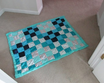 Bright Blue patchwork baby quilt
