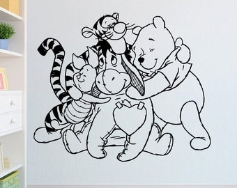 Winnie the pooh, Tigger, Piglet and Eeyore Cut Vinyl Wall Stencil Art Graphic Decal - Childrens room