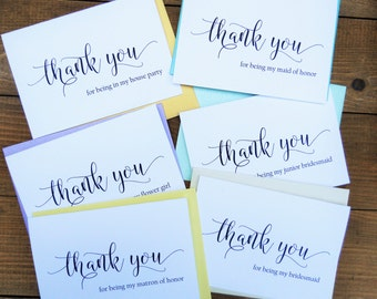 Wedding Party THANK YOU Cards, Bridesmaid Thank You Card, Flower Girl Thank You Card, House Party Cards, Maid of Honor Cards