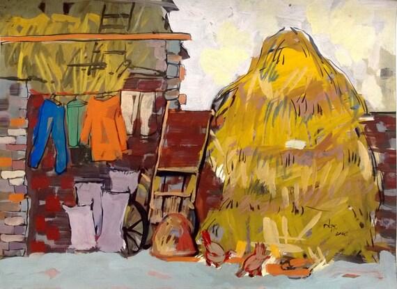 "CHORES 20x16"" gouache on paper, live painting, Vietnam village scene (Đường Lâm), original by Nguyen Ly Phuong Ngoc"
