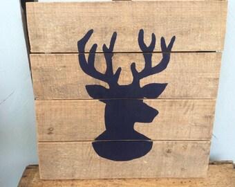 Wooden Deer Head Sign