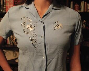 Light Blue Button Up Vintage Blouse