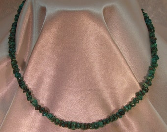 Turquoise Nugget Necklace 17 inches long Sterling Silver Clasp
